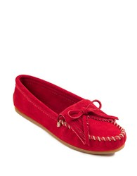 Minnetonka Kilty Suede Driver Moccasins Red