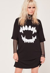Missguided Teeth Oversized T Shirt Dress Black