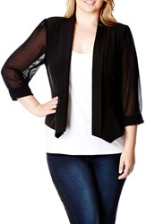 City Chic Plus Size Women's Chiffon Sleeve Blazer Black