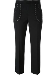 Red Valentino Eyelet Detail Cropped Trousers Black
