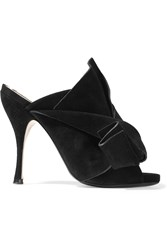 No. 21 Knotted Suede Mules Black