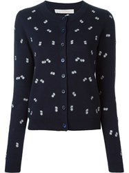 See By Chloa Embroidered Flower Cardigan Blue