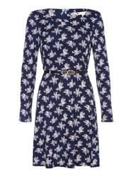 Yumi Black Floral Print Knit Belt Dress Navy