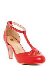 Chase And Chloe Kimmy Cutout T Strap Pump Red