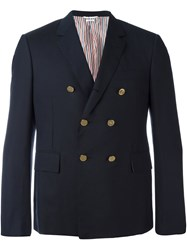 Thom Browne Short Double Breasted Blazer Blue