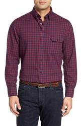 Nordstrom Men's Shop Classic Big And Tall Fit Plaid Flannel Sport Shirt Navy Peacoat Chili Flannel