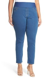 Plus Size Women's Foxcroft Pull On Stretch Ankle Jeans Medium Blue