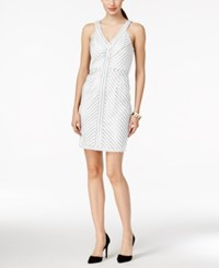 Spense Petite Perforated Stripe Dress