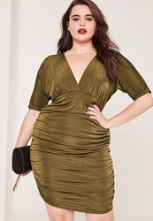 Missguided Plus Size Ruched Slinky Midi Dress Khaki