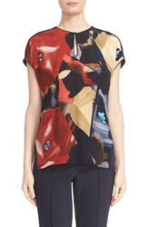 Lafayette 148 New York Petite Women's 'Zane' Short Dolman Sleeve Silk Blouse Ink Multi