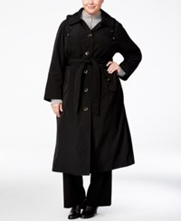 London Fog Plus Size Belted Hooded Maxi Raincoat Black