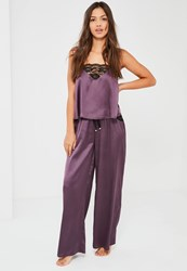Missguided Purple Lace Trim Pyjama Set