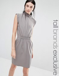 Y.A.S Tall High Neck Pencil Dress With Waist Detail Grey