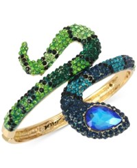 Betsey Johnson Gold Tone Blue And Green Pave Snake Hinged Bangle Bracelet Multi