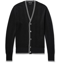Tom Ford Contrast Tipped Silk And Cotton Blend Cardigan Black
