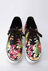 Forever 21 Tropical Print Canvas Sneakers Black Red