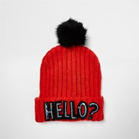 River Island Womens Bright Red Sequin Slogan Bobble Hat