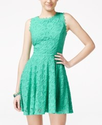 City Triangles City Studios Juniors' Lace Fit And Flare Dress Pastel Green