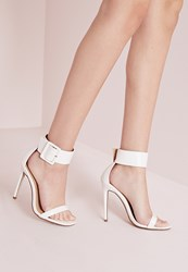 Missguided Buckle Trim Barely There Heeled Sandals White White