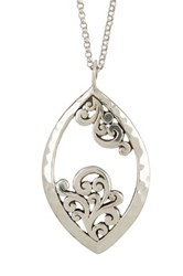 Lois Hill Sterling Silver Large Open Scroll Pendant Necklace Metallic