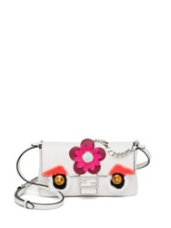 Fendi Embellished Rabbit Fur And Leather Micro Buggie Baguette White