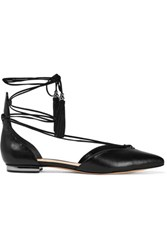 Schutz Nise Lace Up Leather Point Toe Flats Black