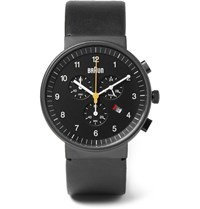 Braun Bn0035 Stainless Steel And Leather Watch Black