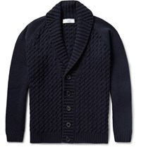 Ami Alexandre Mattiussi Shawl Collar Cable Knit Merino Wool Cardigan Blue