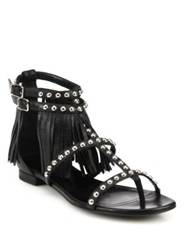 Saint Laurent Studded Leather Fringe Trimmed Sandals Black