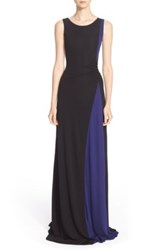 Armani Collezioni Colorblock Sleeveless Jersey Gown Black