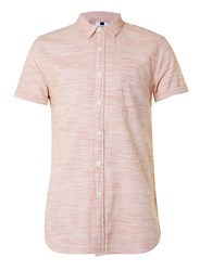 Topman Faded Red And White Textured Stripe Short Sleeve Casual Shirt