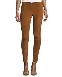Alice Olivia Front Zip Suede Leggings Tan