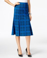 Ny Collection Plaid Ponte A Line Skirt Black Blue Plaid