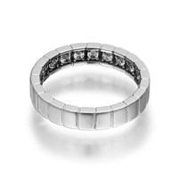 Openjart Sapphires Inside Women's Notched Wedding Ring White Gold