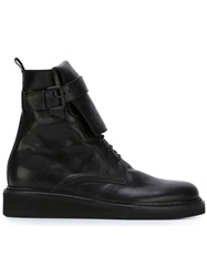 Ann Demeulemeester Buckle Lace Up Boots Black