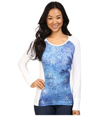 Hot Chillys Mtf Sublimated Print Scoop Neck Top Flurry White Women's T Shirt Blue