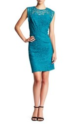 Nine West Matching Slip Cap Sleeve Lace Dress Blue