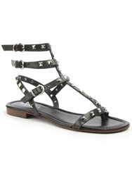 Daniel William Square Studded Gladiator Sandals Black