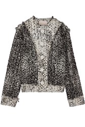 Christopher Kane Frayed Metallic Wool Blend Boucle Tweed Jacket Gray