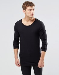 Asos Longline Muscle Long Sleeve T Shirt With Scoop Neck In Black Black