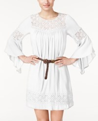 American Rag Lace Panel Belted Dress Only At Macy's One White