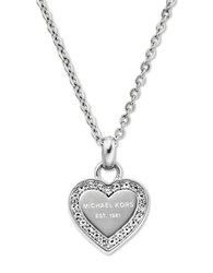 Michael Kors Stainless Steel And Glitz Heart Pendant Necklace Silver