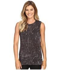 Lucy Savasana Muscle Tank Top Grey Constellation Print Women's Sleeveless Brown