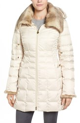 Laundry By Shelli Segal Women's Faux Fur Trim Down And Feather Coat