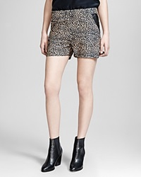The Kooples Shorts Baby Leopard Print Crepe And Leather Trim