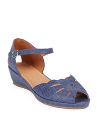 Gentle Souls Lily Moon Peep Toe Wedge Sandals Navy Blue