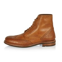 River Island Mens Tan Leather Brogue Boots