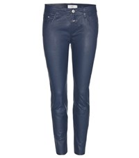 Closed Baker Skinny Leather Trousers Blue