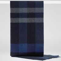 Reiss Hamish Check Wool Scarf Blue