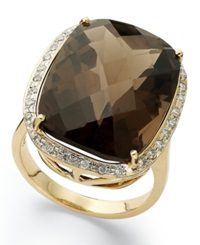 Macy's 14K Gold Ring Smokey Topaz 20 Ct. T.W. And Diamond 1 5 Ct. T.W. Large Rectangle Cushion Cut Ring